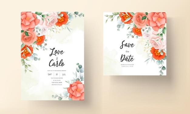 Elegancka karta zaproszenie na ślub ozdobiona pięknymi pomarańczowymi kwiatami