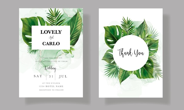 Elegancka karta zaproszenie na ślub z akwarelą zielonych liści tropikalnych