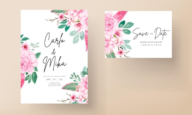 Elegancka karta zaproszenie na ślub z delikatnym różowym akwarelowym kwiatowym ornamentem