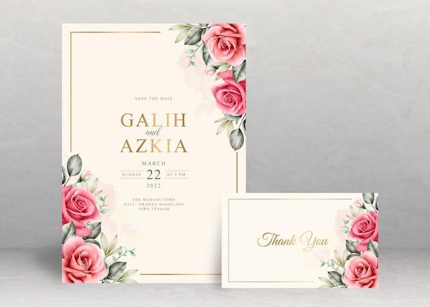 Elegancka karta zaproszenie na ślub z kwiatową akwarelą