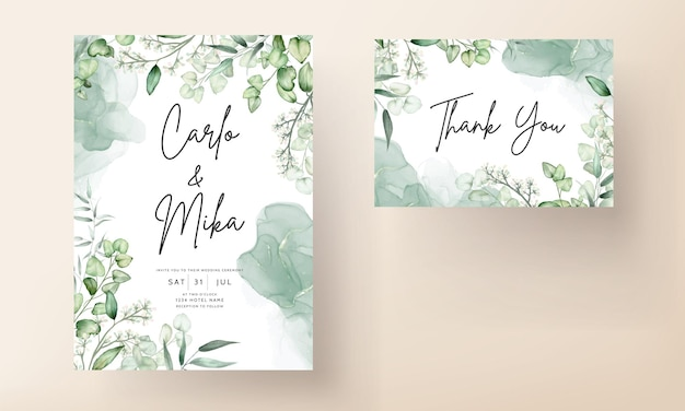 Elegancka karta zaproszenie na ślub z liści eukaliptusa