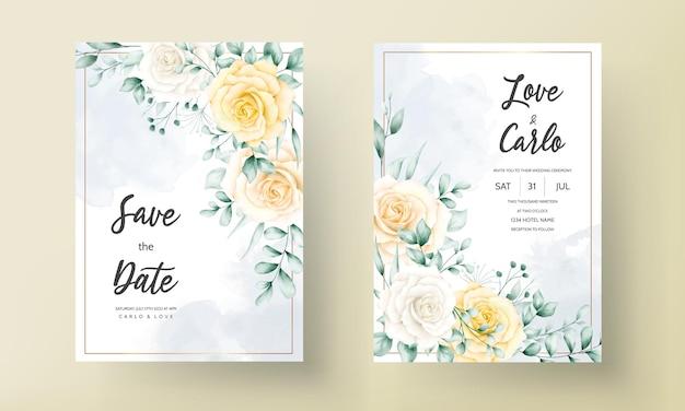 Elegancka karta zaproszenie na ślub z piękną akwarelą kwiatowy