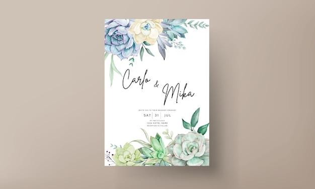 Elegancka karta zaproszenie na ślub z piękną soczystą akwarelą kwiatową