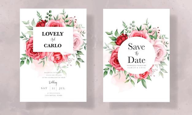 Elegancka karta zaproszenie na ślub z pięknym akwarelowym kwiatem