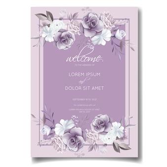 Elegancka karta zaproszenie na ślub z pięknym fioletowym i białym kwiatowym wzorem