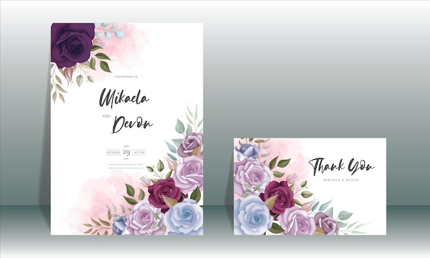 Elegancka karta zaproszenie na ślub z pięknym kwiatowym ornamentem