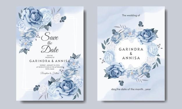 Elegancka karta zaproszenie na ślub z pięknym szablonem kwiatów i liści