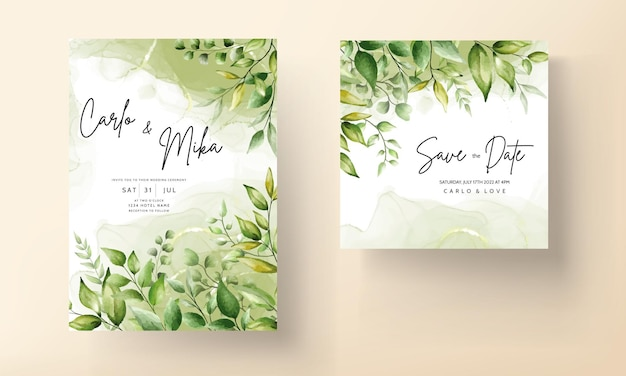 Elegancka karta zaproszenie na ślub z pięknymi akwarelowymi liśćmi