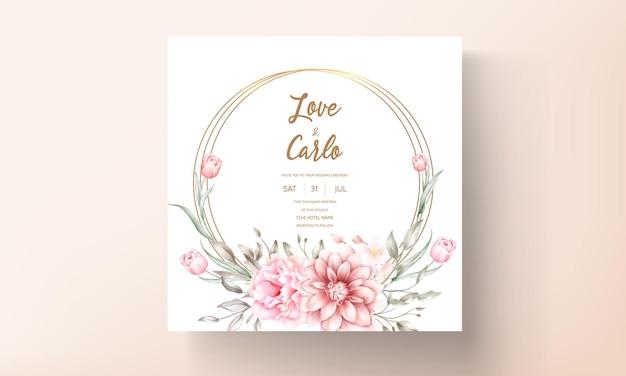Elegancka karta zaproszenie na ślub z pięknymi akwarelowymi ornamentami kwiatowymi