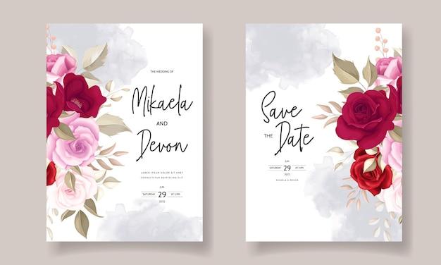 Elegancka karta zaproszenie na ślub z pięknymi bordowymi różami
