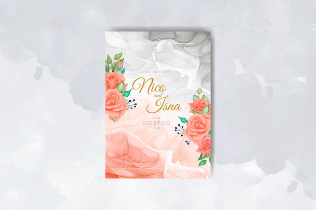 Elegancka karta zaproszenie na ślub z pięknymi czerwonymi różami akwarela