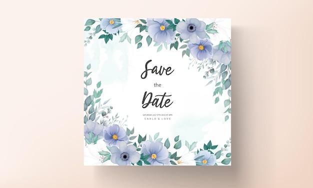 Elegancka karta zaproszenie na ślub z pięknymi dekoracjami kwiatowymi