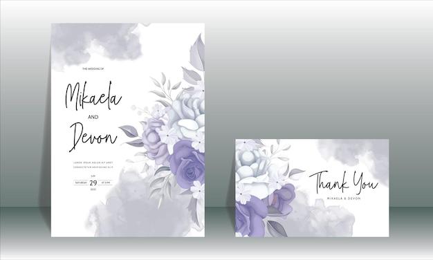 Elegancka karta zaproszenie na ślub z pięknymi fioletowymi kwiatami