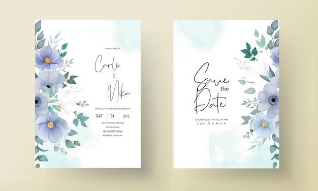 Elegancka karta zaproszenie na ślub z pięknymi ornamentami kwiatowymi