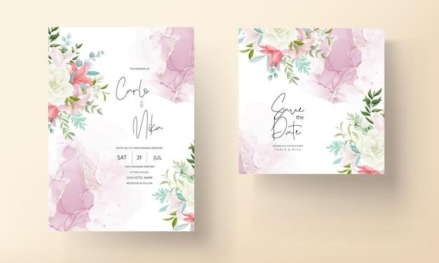Elegancka karta zaproszenie na ślub z ręcznie rysowanymi miękkimi kwiatami i liśćmi