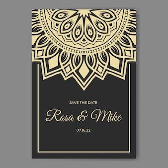 Elegancka karta zaproszenie na ślub z szablonem dekoracji mandali