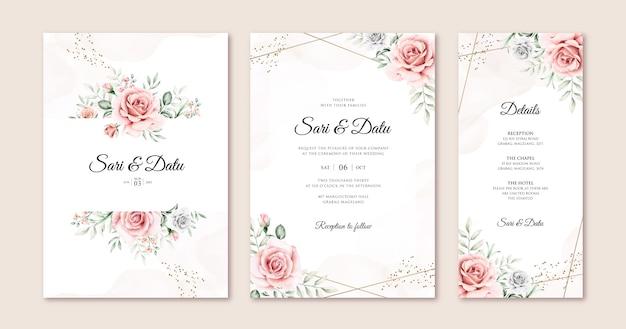 Elegancka karta zaproszenie na ślub zestaw szablonu z pięknymi kwiatami i liśćmi akwarela
