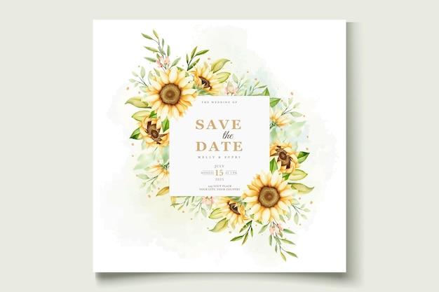 Elegancka karta zaproszenie słonecznika akwarela