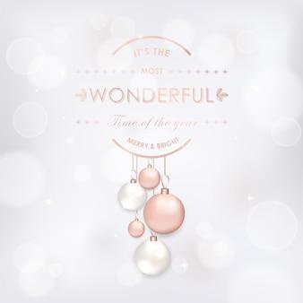 Elegancka kartka merry christmas z bombkami w kolorze różowego złota na zaproszenie, pozdrowienia lub ulotkę i broszurę noworoczną 2019