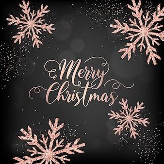 Elegancka kartka merry christmas z różowozłotymi brokatowymi płatkami śniegu na zaproszenie, pozdrowienia lub ulotkę i broszurę noworoczną 2019