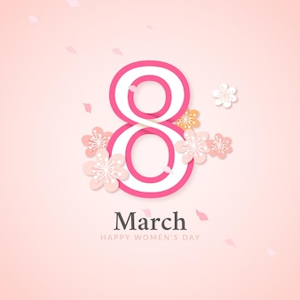 Elegancka kartka na dzień kobiet z ósmym marszem i kwiatami