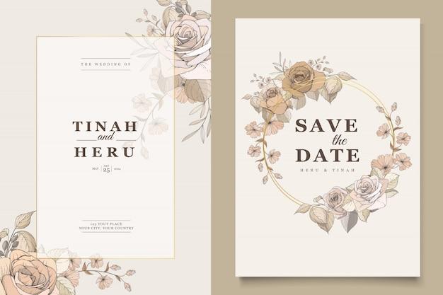 Elegancka kartka ślubna z pięknym szablonem kwiatowy i liści