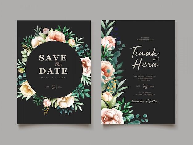 Elegancka kartka ślubna z pięknym szablonem kwiatowym i liści