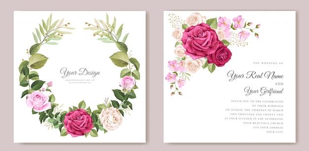 Elegancka Kartka ślubna Z Pięknym Szablonem Kwiatowym I Liści Darmowych Wektorów