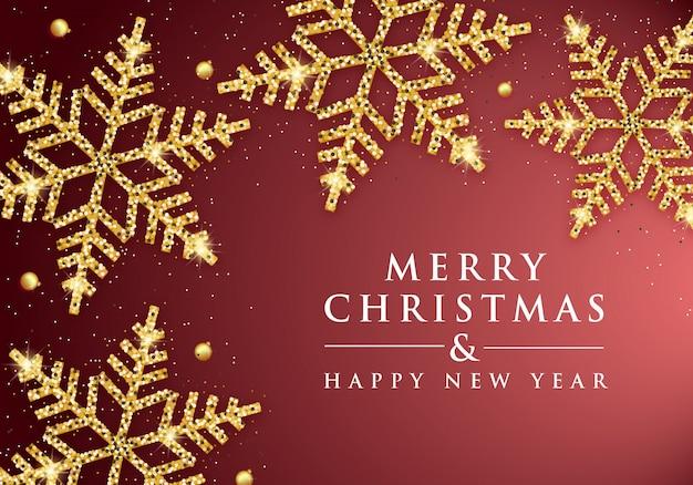 Elegancka kartka świąteczna z złote płatki śniegu