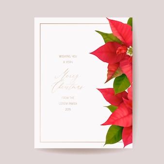 Elegancka kartka wesołych świąt i nowego roku z realistycznymi kwiatami poinsecji, wieniec kwiatowy. zimowe rośliny 3d projekt ilustracji na pozdrowienia, zaproszenia, ulotki, broszury, okładki w wektorze