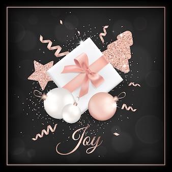 Elegancka kartka wesołych świąt z brokatowymi bombkami w kolorze różowego złota, gwiazdkami, choinką na zaproszenie lub pozdrowienia lub ulotkę i broszurę noworoczną 2019