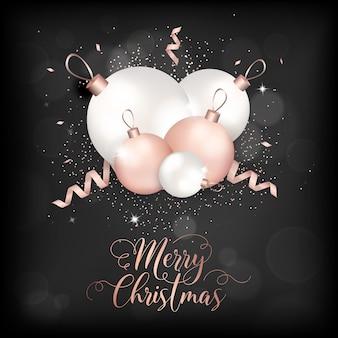 Elegancka kartka wesołych świąt z brokatowymi bombkami w kolorze różowego złota na zaproszenie lub pozdrowienia lub ulotkę i broszurę noworoczną 2019