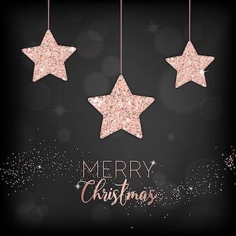 Elegancka kartka wesołych świąt z różowo-złotymi brokatowymi gwiazdkami na zaproszenie lub pozdrowienia lub ulotkę i broszurę noworoczną 2019
