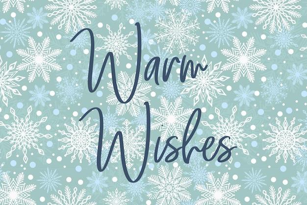 Elegancka kartka z życzeniami świątecznymi ciepłe życzenia na nowy rok szablon płatka śniegu w tle
