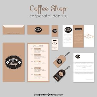 Elegancka kawiarnia identyfikacja wizualna