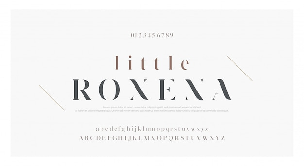 Elegancka klasyczna czcionka litery alfabetu