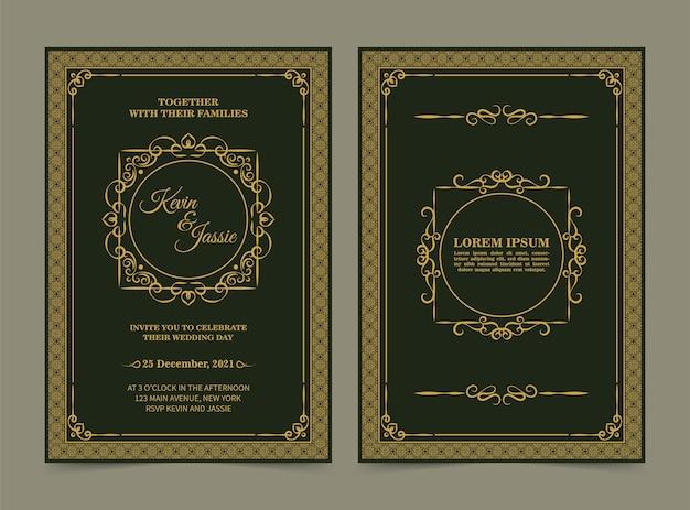 Elegancka klasyczna karta zaproszenie na ślub