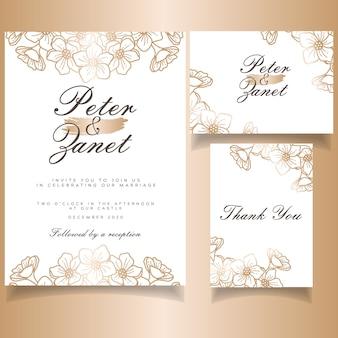 Elegancka kobieca impreza ślubna karta zaproszenie zestaw motyw botaniczny