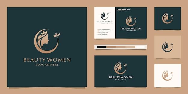 Elegancka kobieta salon fryzjerski złoty gradient logo projektowania i wizytówki