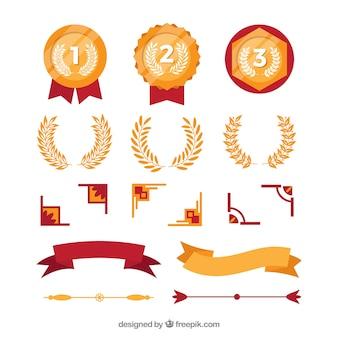 Elegancka kolekcja elementów certyfikatu o płaskiej konstrukcji