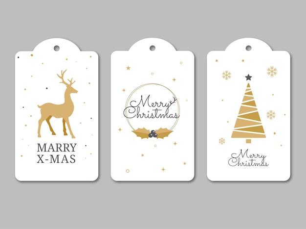 Elegancka kolekcja etykiet świątecznych. zestaw tagów prezentów świątecznych
