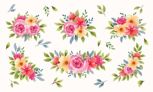 Elegancka kolekcja kompozycji kwiatowych z akwarelą
