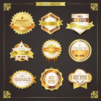 Elegancka kolekcja złotych etykiet najwyższej jakości na czarnym tle