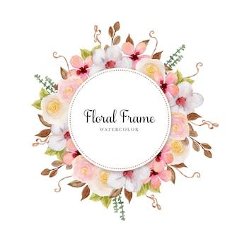 Elegancka kolorowa akwarelowa ramka w kwiaty