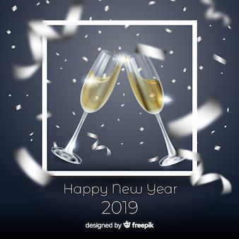 Elegancka kompozycja nowego roku 2019 o realistycznym designie