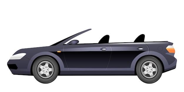 Elegancka kreskówka kabriolet. stylowy letni samochód bez dachu w płaskim kolorze obiektu. modny pojazd osobisty na białym tle. luksusowy nowy widok z boku samochodu.