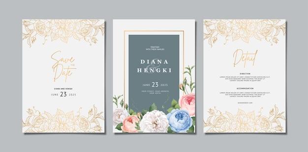 Elegancka kwiecista karta zaproszenie na ślub ze złotą linią