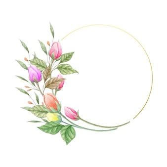 Elegancka kwiecista ramka w minimalistycznym stylu