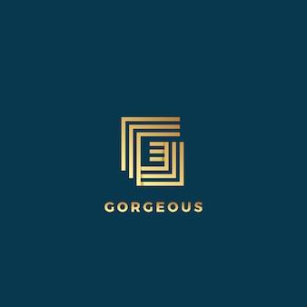 Elegancka linia litera g streszczenie znak, godło lub logo szablon. godło złotej geometrii.