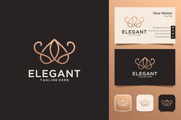 Elegancka luksusowa linia sztuki prosty projekt logo i wizytówka